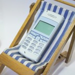 Mobile phone in deck chair