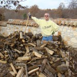 Phil and his chopped wood pile
