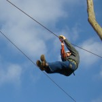 Phil on zip line at Glavani Park, Istria