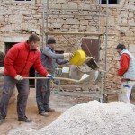 Mixing concrete in sub-zero temperatures in Kovaci, Istria