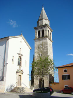 Kringa's impressive bell-tower & church in Istria