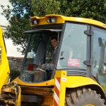 Toni in his beloved JCB in Kovaci, Istria