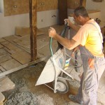 Miro starts laying flagstones at Kovaci, Istria