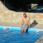 P prepares to go for a first dip in the pool at Kovaci, Istria
