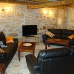 furnished lounge area in barn