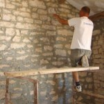 Repointing the barn's bedroom wall in Kovaci, Istria