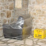 chair wrapped in clingfilm, Kovaci, Istria