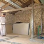 starting work on plasterboard walls in Kovaci, Istria