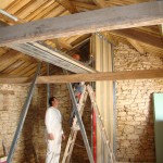 Tall plasterboard walls start taking shape in Kovaci, Istria