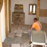 Miro laying the flagstone floor in Kovaci, Istria
