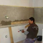 kitchen tiling being put up in Kovaci, Istria