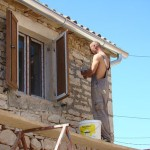 Repointing outside of barn in Kovaci, Istria