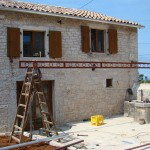 outside the pergola's going up in Kovaci, Istria