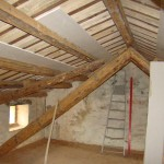 new roof is boarded up in Kovaci, Istria