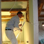 Pipes and wiring being installed in ensuite shower-room walls in Kovaci, Istria