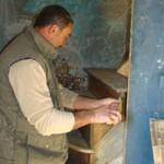 Miro adding a step into the staircase in Kovaci, Istria