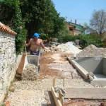 concreting pool terrace in Kovaci, Istria