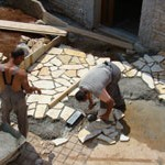 paving in front of house being laid in Kovaci, Istria