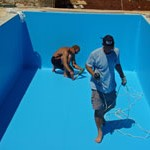 pool being lined in Kovaci, Istria