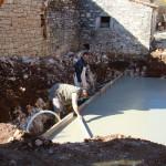 concreting pool bottom in Kovaci, Istria
