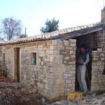 rebuilding outhouse wall in Kovaci, Istria