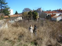 Nicky & Azra survey the apartment building location plot in Pula