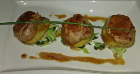 Pork loin in a beer sauce, on a cabbage and potato tartlet at Mare e Monti