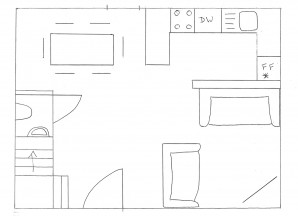 Pen drawing of ground floor plan of Kovaci property in Istria