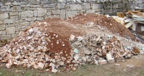 Pile of rubble in garden at Kovaci in Istria