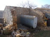 Half-demolished old stone outbuilding in Kovaci, Istria