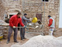 Mixing concrete in sub-zero temperatures in Kovaci, Istria