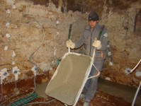 Toni pouring concrete for the floor at Kovaci, Istria