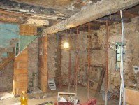 Scaffolding holding up ceiling & downstairs loo in Kovaci, Istria