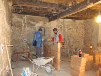 Toni & Amir working on the half-height wall in Kovaci, Istria