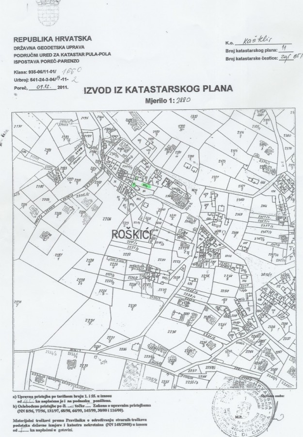 Cadastral plan for Kovaci, Istria