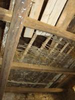 Wicker hurdle floor in hay loft in Kovaci barn, Istria