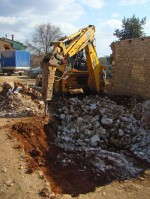 JCB starting pool excavation in Kovaci, Istria