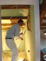 Boban puts the finishing touches to the ensuite bathroom