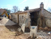 Shed with wheel barrows at Kovaci, Istria