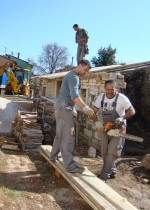 The team at work replacing the supa roof in Kovaci, Istria