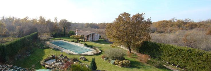 Panorama of garden in November