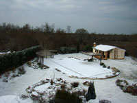 Istrian garden covered in snow in February