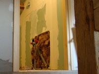 Bathroom wall opened up to move plumbing in Kovaci, Istria