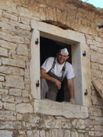 Toni in hay loft window in Kovaci, Istria