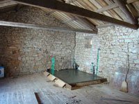 Upstairs in Kovaci barn with bathroom concrete floor, Istria