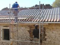 Progress on roof & upstairs window in Kovaci barn, Istria