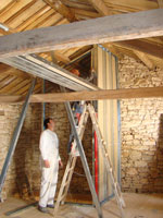 Plasterboard walls going up in Kovaci barn, Istria