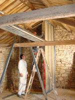 Plasterboard walls going up in Kovaci barn, Istria