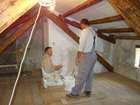Miro and Jori, the painter in Kovaci master bedroom, Istria