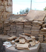 Stacks of tavele tiles from roof lining waiting to go on the floor, Kovaci, Istria